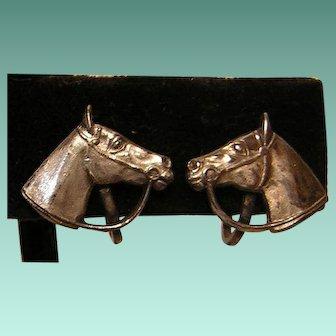 Vintage Sterling Horse Head Screw-back Earrings