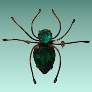 Vintage Spider Brooch with Green Glass, Brass and Sterling Silver
