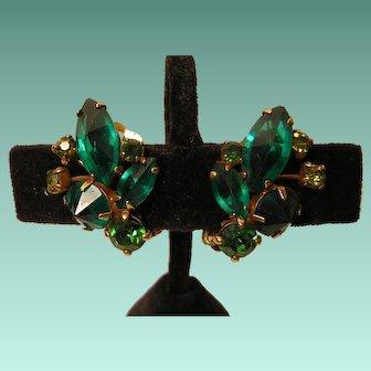 Vintage Weiss Green Glass Clip-back Earrings