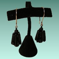 Upcycled Vintage Black Glass Lantern Earrings