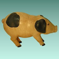 Large Folk Art Carved Pig 19 Inches Long