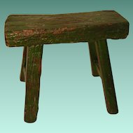 Primitive Stool with Green Paint