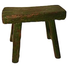 Primitive Wood Stool with Green Paint