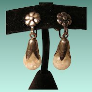 Floating Opal Earrings Vintage Sterling Silver
