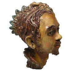 Majolica Style Terracotta Bust