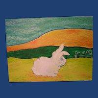 A Study in Van Gogh 'Sitting Bunny' ART by Josty