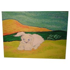 A Study in Van Gogh 'Lying Bunny' ART by Josty