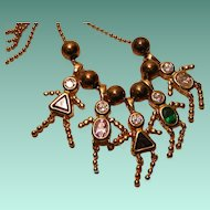 Gold-tone Sterling Necklace with Children Collectible Charms