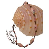 Pink Beaded Necklace Vintage