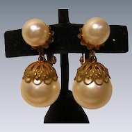 Big Faux Pearl Bobble Earrings Vintage