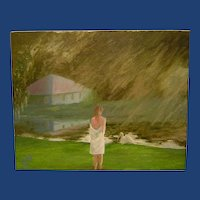 Impressionist Oil Painting 'Girl at Canal with Bird' ART by Josty
