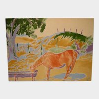 Impressionist Oil Painting 'Old Horse at the Trough' ART by Josty