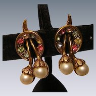 Faux Pearl and Multi-color Rhinestone Earrings Vintage