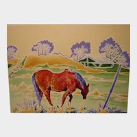 Impressionist Oil Painting 'Old Horse in Field' ART by Josty