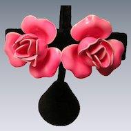 Vintage Hot Pink Rose Enameled Earrings