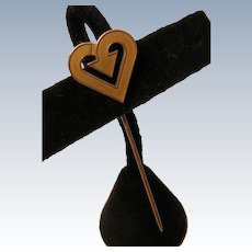 Vintage Heart Stick Pin Gold Filled