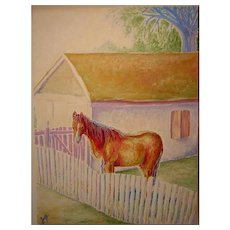 Impressionist Oil Painting 'Horse Eating Hay' ART by Josty