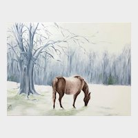 Impressionist Oil Painting 'Horse in Winter Pasture' ART by Josty