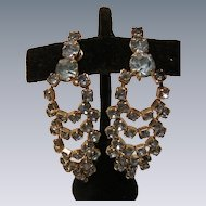 Vintage Blue Rhinestone Waterfall Earrings