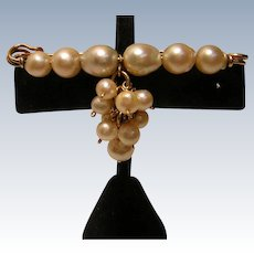 Baroque Cultured Pearl Bar Pin with Pearl Cluster Dangle