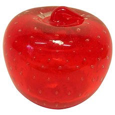 Vintage Hand-blown Glass Apple Paperweight with Controlled Bubbles