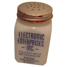 Vintage Advertising Milk Glass Salt Shaker