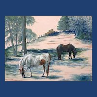 Impressionist Oil Painting 'Hay-bale's and Horses' ART by Josty