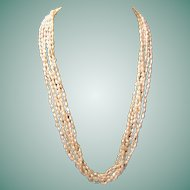 Vintage Costume Jewelry Cultured Freshwater Pearl Multi-strand Necklace