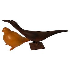 Folk Carved Wooden Birds
