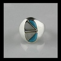 Turquoise and Mother of Pearl Channel Inlay Ring ca 1970's