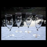 Set of 4 Etched Whiskey Sour/ Champagne Glasses