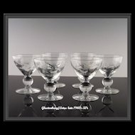 Floral Cut Wine Glasses by Glastonbury/Lotus ca 1940's-50's