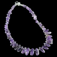 Polished Amethyst Spear and Sterling Necklace