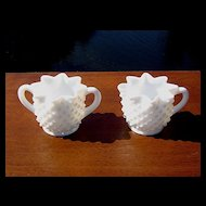 Fenton Star Shaped Hobnail Cream and Sugar Set ca 1950's-60's