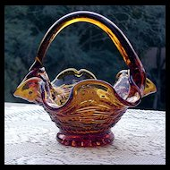 Italian Made Amber Glass Basket