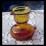 Topaz Crackle Pitcher by Pilgrim Glass ca 1949-69