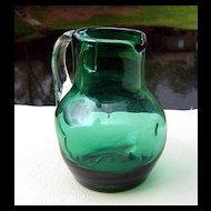 Emerald Green Dimpled Miniature Pitcher ca 1960's