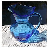 Hand Blown Brilliant Blue Pitcher by Rainbow ca 1940's-60's
