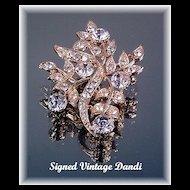 Vintage Signed Rhinestone Brooch