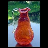 Pilgrim Miniature Tangerine Crackle Glass Pitcher ca 1949-1969
