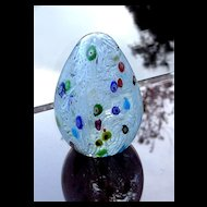 White Ribbon with Multi Color Milleflori Paperweight