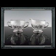Elegant Etched Cream and Sugar by New Martinsville in Flower Basket Pattern ca 1938-44