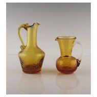 Two Golden Miniature Crackle Glass Pitchers ca 1950's-60's