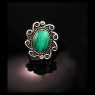 Navajo Malachite and Sterling Ring ca 1970's