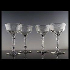 Libbey Rock Sharpe Champagne/Champagne Cocktail Glasses ca 1940's
