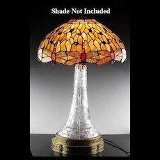 American Brilliant Lamp in Flowers and Harvard Pattern ca 1900-1917