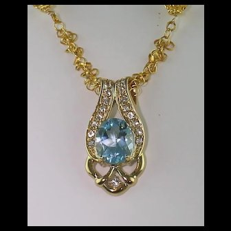 Exquisite Ex-Large Natural Blue Topaz and Diamond Necklace