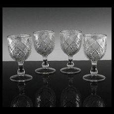 EAPG Panelled Diamond Block Goblets ca 1894
