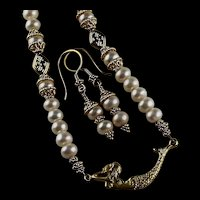 """Under The Sea"" Freshwater Pearl Necklace With Gold Vermeil Mermaid"