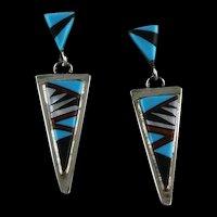 Navajo Artist Wilber Wauneka Sterling Inlay Earrings